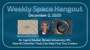 Weekly Space Hangout: December 2, 2020 – Dr. Ingrid Daubar, Planetary Scientist, Brown University